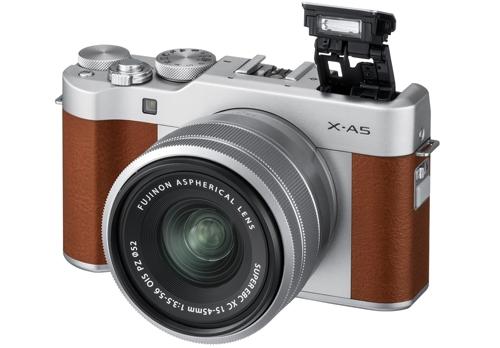 X-A5_Brown_FrontOblique+Flash+XC15-45mm