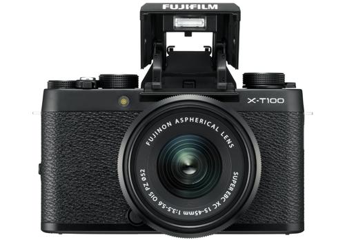 X-T100_Black_Front_FlashUp+XC15-45mmB