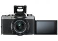 X-T100_DarkSilver_Front_FlashUp_MonitorUp+XC15-45mmB